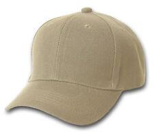 KHAKI TAN BASEBALL STYLE CAP HAT CAPS HATS ADJUSTABLE VEL