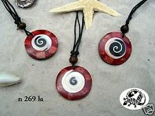 RED BLACK & WHITE SHELL NECKLACE surf beach /n269la