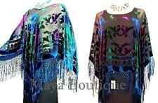 Tye Dye Fringe Poncho Shawl Top Burnout Velvet Blue Purple Multi Maya Matazaro