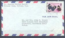 BELIZE 1974, Butterflies 26c, on letter  (223)