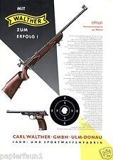Walther Waffen Ulm Große Reklame 1956 Waffenfabrik Pistole Gewehr Zielscheibe Ad