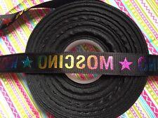 "*SALE * 1m Black Holographic Grosgrain Ribbon 3/4"" 19mm Designer Type Logo"