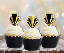 Gatsby Art Deco Pattern EDIBLE wafer cupcake cake toppers stand up