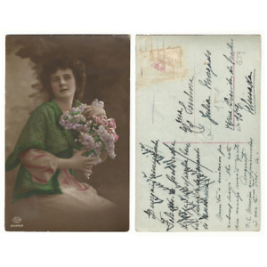 Antique Vintage Postcard colored Victorian lady with flowers edwardian -e