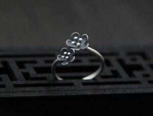 T04 Ring Blüte 2 dunkle Blumen 925 Sterling Silber größenverstellbar