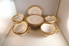 Vintage Theodore Haviland NY Madison Gold Encrusted Rim Set of 8 Cups & Saucers