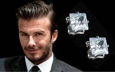 Men's Boys White Gold Plate Beckham 'Magnetic' Designer 8mm Crystal Gem Earrings
