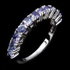 Elegant Natural Round 2.5mm. Top Nice Blue Violet Tanzanite 925 Silver Ring 6.5