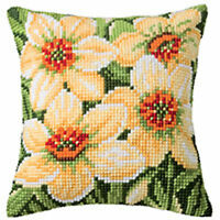 """Narcissi daffodils chunky cross stitch cushion front kit 16x16"""" tapestry canvas"""