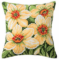 Vervaco 1200/920 | LRG Hole Canvas Daffodils Cushion Front Cross Stitch Kit 40cm