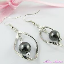 Silver Tone Non-Magnetic Synthetic Hematite Hook Earrings 48mm