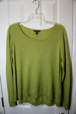 Eileen Fisher Size M Sweater Tunic Yellow Green Merino Wool Cotton Medium EUC
