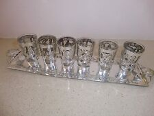Sterling silver 6 liquer/vodka cups on a tray, handmade, mexico signed