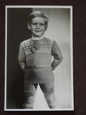 ADORABLE YOUNG BOY  WEARING KNIT SWEATER & SHORTS Vtg REAL PHOTO POSTCARD
