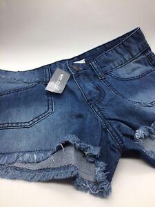 Wet Seal Blue Asphalt Frayed  Hem Denim Short Shorts With Pockets Size 0