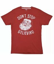 """Christmas Holiday Time Men's """"Don't Stop Believing"""" Red  Tee. L(42-44)..NEW!!"""