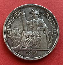 France Französisch Indochina 1 Piastre de Commerce 1900 Argent Silver KM# 5a.1