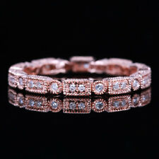 Solid 14K Rose Gold Milgrain Eternity Band Real Diamond Wedding Engagement Ring