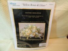 Artecy Counted Cross Stitch Kit  - Yellow Roses & Lilacs #20177 14 Count Aida