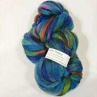 Super Bulky 100% Roving Wool Yarn Zippy Skein 60 Yd. Peacock Variegated Blue
