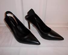 Trouve Mila Pointed Toe Black Leather Slingbacks Shoes Sandals Heels Pumps 8 M
