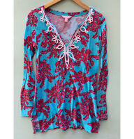 Lilly Pulitzer Top Small Westley Embroidered Tunic Blue Pink Coral Reef Shirt