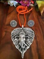 Indian Ethnic silver oxidized Ganesh necklace Jewelry Set with Top Earrings