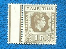 "mauritius 1938 1r grey-brown ""BATTERED ""A"" FLAW"" fine mint  sg260a cat £900"