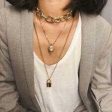 UK BOHO CHUNKY CHAIN PADLOCK MULTI LAYER STATEMENT NECKLACE Fashion Jewellery