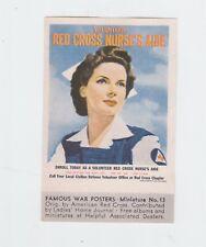 ORIGINAL WW II TIDEWATER OIL CO POSTER STAMP/MINIATURE PIC RED CROSS NURSE #13