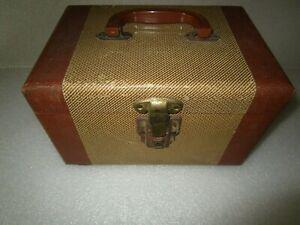 Vintage Tweed Train Case Brown & Tan 1930's Travel Suitcase