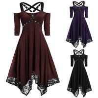 Women Gothic Dress Steampunk Lace Plus Size Irregular Swing Shoulderless Strappy