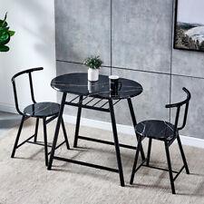 Marble Vein Table + 2 Chairs Set Bistro Set Metal Frame Coffee Breakfast Kitchen