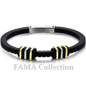 Top Quality FAMA Black Rubber Bracelet with 2 Tone Stainless Steel Square Beads