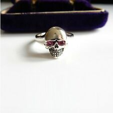 Sterling Silver Real Ruby Skull Ring