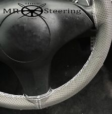 FITS VOLVO P122 S GREY PERFORATED LEATHER STEERING WHEEL COVER WHITE DOUBLE STCH