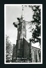 Mount MT Angel Oregon OR c1940s RPPC St Mary's Church, Clock & Tall Spire Tower