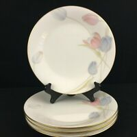 Set of 4 VTG Salad Plates by Mikasa Swiss Garden Bone China Floral CR009 Japan
