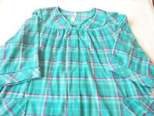 Robe Housecoat Duster Turquoise Plaid Fleece Snap Front Sleeve Size 3XL