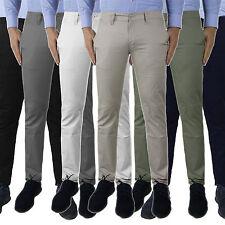 Pantalone Uomo Chino Cotone Jeans Slim Fit Casual Elegante Tasche America Moda