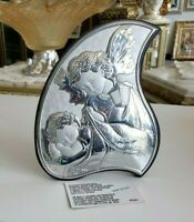 Italian Sterling Silver Argento Guardian Angels Icon Plaque On wood Back