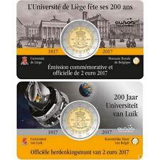 """2 x Coincard 2 euros BELGIQUE 2017 Français + Flamand  """"Université de Liège"""""""