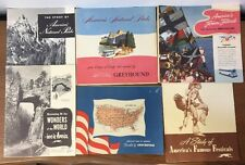 Lot of 6 Greyhound Brochures 1940's 50s National Parks Festivals Romance Wonders