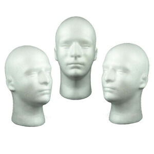 3x 20 Inch Foam Head Male Styrofoam Manequins Mannequin Manican Heads for Wigs
