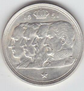 "BELGIUM: 1951 100 Francs, ""Belgie"" .835 silver Collectible Grade    B5"