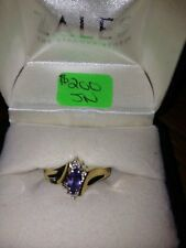 TANZANITE Marquis Cut with DIAMONDS 10k Yellow Gold Size 7-Excellent Condition!!