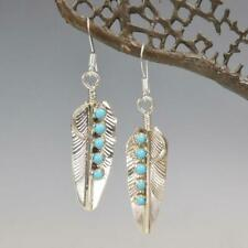 Native American Navajo Sterling Silver Five Turquoise Stone Feather Earrings