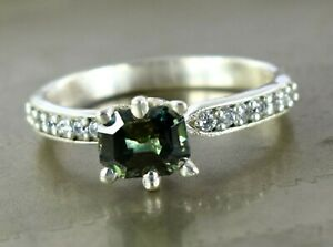 Engagement Gift 2.88 Ct Emerald Cut Green Diamond Solitaire Ring With Accents