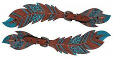 Teal Painted Feather Cutout Tooled Leather Western Ladies PAIR of Spur Straps