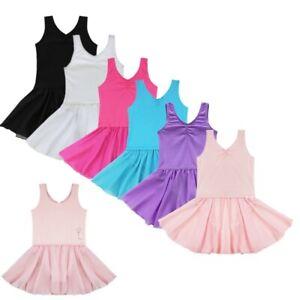 UK_Girl Ballet Dance Dress Leotard Kids Gymnastics Unitard Tutu Skirt Dancewear